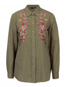 Zelená košile s květovanou výšivkou Dorothy Perkins