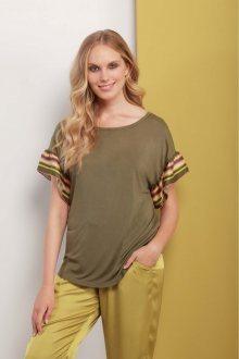 Deha zelené tričko s barevnými motivy - XS