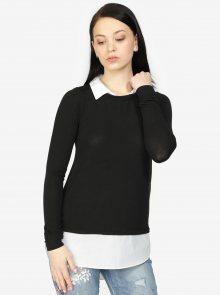 Krémovo-černá svetr s všitým košilovým dílem Haily´s Linda