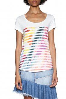 Desigual bílé tričko s barevnými pruhy Im Blau  - XS