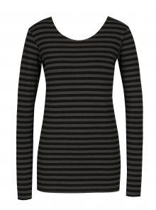 Šedo-černé dámské pruhované tričko s dlouhým rukávem Garcia Jeans