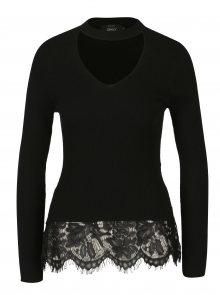 Černý svetr s chokerem a krajkovým lemem ONLY Kamie