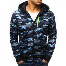Pánská stylová bunda oboustranná maskáčový vzor s kapucí světle modrá