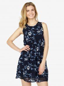 Tmavě modré květované šaty s krajkovými detaily VERO MODA Shea