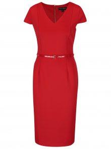 Červené pouzdrové šaty s páskem Dorothy Perkins