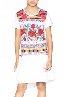 Desigual bílé dívčí šaty Malabo s barevným motivem