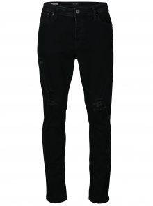 Černé slim fit džíny s potrhaným efektem Jack & Jones Tim