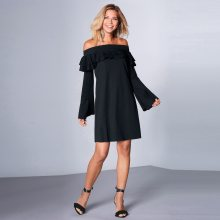 Venca Šaty s lodičkovým výstřihem a volány černá S