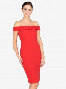 Červené pouzdrové šaty s odhalenými rameny AX Paris