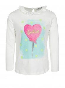 Krémové holčičí tričko s potiskem a volánkem 5.10.15.