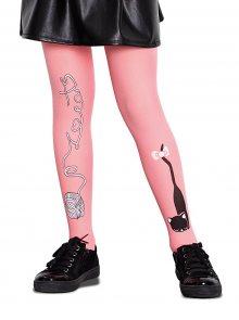 Růžové holčičí punčocháče s motivem kotěte Penti Cat ball 50 DEN