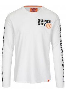 Bílé pánské tričko s dlouhým rukávem Superdry