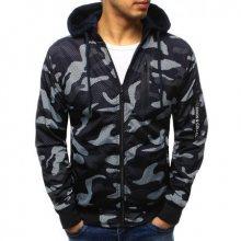 Pánská stylová bunda oboustranná maskáčový vzor s kapucí tmavě modrá