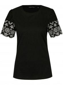 Černé tričko s výšivkou na rukávech Dorothy Perkins