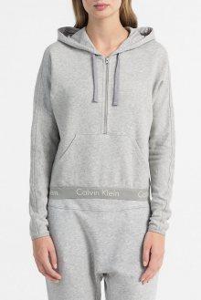 Calvin Klein světle šedá dámská mikina Half Zip Hoodie - XS