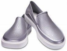 Crocs stříbrné slip-on boty Citilane Roca Metallic Silver