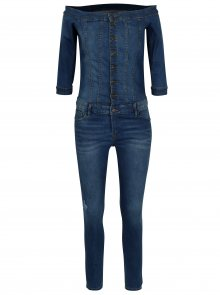 Modrý džínový overal s odhalenými rameny ONLY Julia