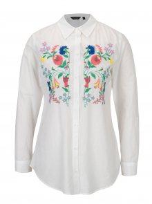 Bílá košile s květovanými výšivkami Dorothy Perkins