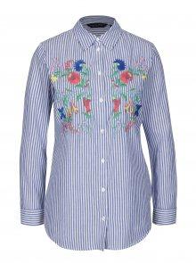 Modro-bílá pruhovaná košile s výšivkami Dorothy Perkins