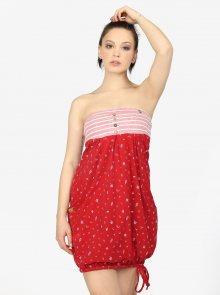 Červené balónové šaty s potiskem a kapsami Ragwear Scene
