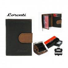 Elegantní černá dámská peněženka s páskem v hnědé barvě