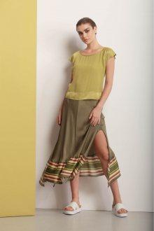 Deha zelená asymetrická sukně s barevnými motivy