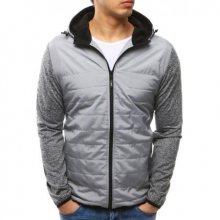 Pánská moderní bunda s kapucí šedá
