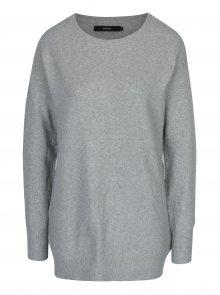 Světle šedý žíhaný oversize svetr s příměsí vlny z alpaky VERO MODA Colma