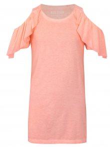 Růžové šaty s průstřihy na ramenou a volány Blue Seven