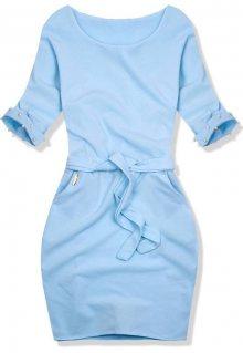 Baby blue šaty se zdobenými rukávy