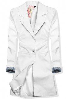 Bílé prodloužené sako se zapínáním