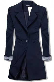 Tmavě modré prodloužené sako se zapínáním