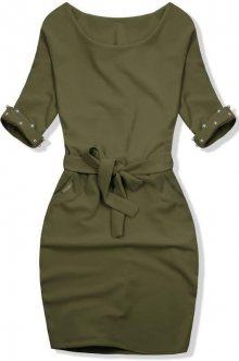 Khaki šaty se zdobenými rukávy