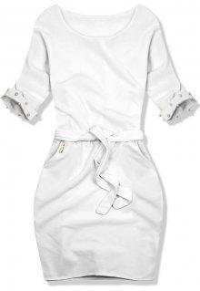 Bílé šaty se zdobenými rukávy