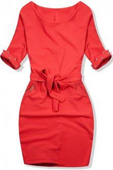 Neonově oranžové šaty se zdobenými rukávy
