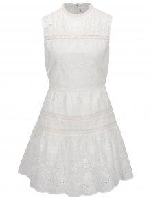 Krémové šaty s madeirou a krajkovými detaily VILA Davina