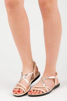 Gumové černé sandály se stříbrným páskem