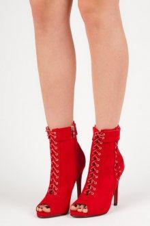 Stylové červené šněrovací kotníkové boty s otevřenou špičkou