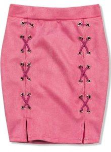 Růžová semišová sukně
