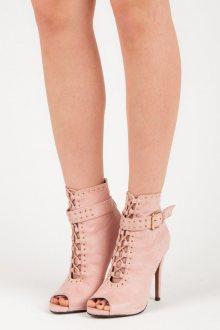 Semišové růžové kotníkové boty s otevřenou špičkou