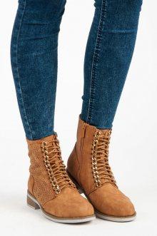 Jarní hnědé ažurové kotníkové boty se šněrováním