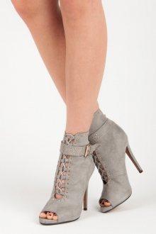 Semišové šedé kotníkové boty s otevřenou špičkou