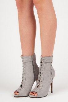 Stylové šedé šněrovací kotníkové boty s otevřenou špičkou