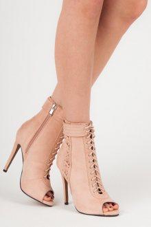 Stylové růžové šněrovací kotníkové boty s otevřenou špičkou
