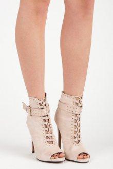 Semišové béžové kotníkové boty s otevřenou špičkou