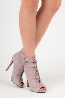 Semišové fialové kotníkové boty s otevřenou špičkou