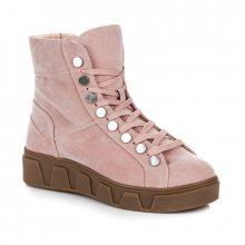 Semišové růžové kotníkové boty na platformě se šněrováním