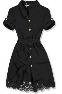 Černé šaty s krajkovým lemem