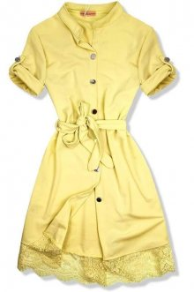 Žluté šaty s krajkovým lemem