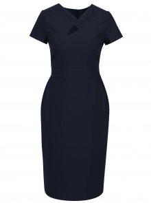 Tmavě modré pouzdrové šaty s průstřihem v dekoltu Dorothy Perkins